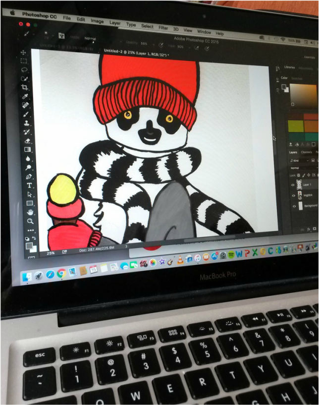 Andrea England Art- editing Lemur Loves Icecream in Photoshop