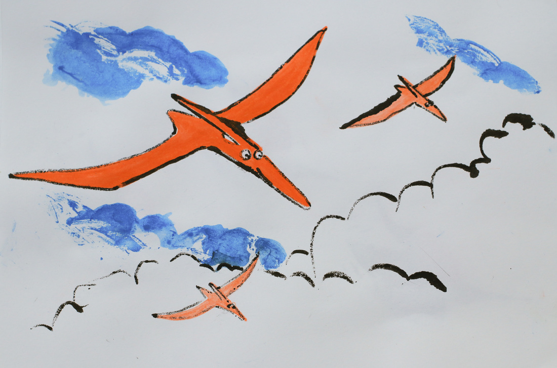 Pterodacyl print in ink and inktense