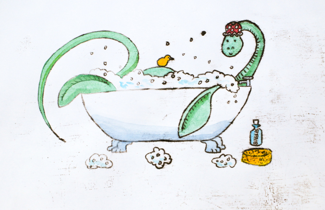 Plesiosaur in the bath, oil transfer with watercolour