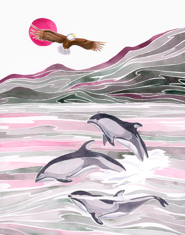 Pacific white sided dolphins and bald eagle watercolor painting of Pacific North West