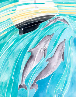 Dolphin pod play beneath the bow of a sailing yacht- original ocean watercolor by Andrea England