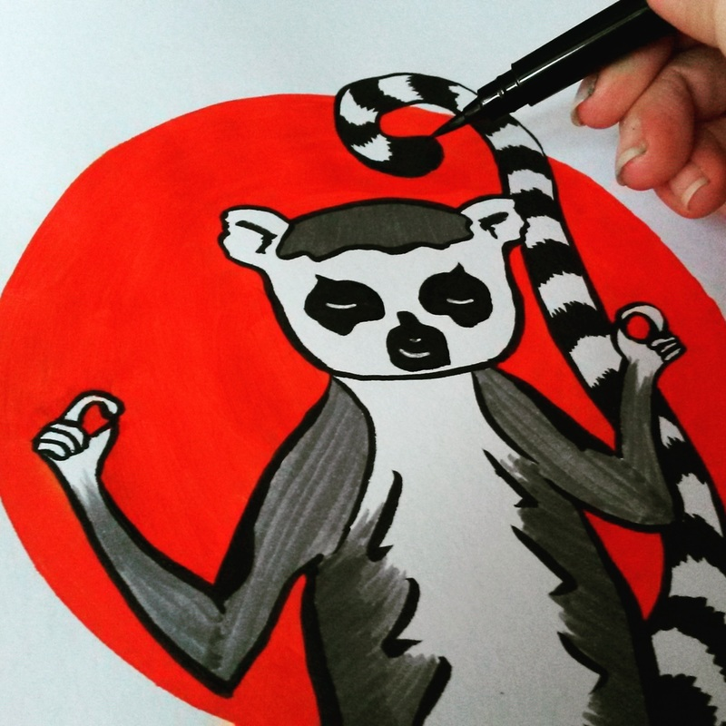 Andrea England Art- meditating lemur. Stencil, ink and Pitt pens
