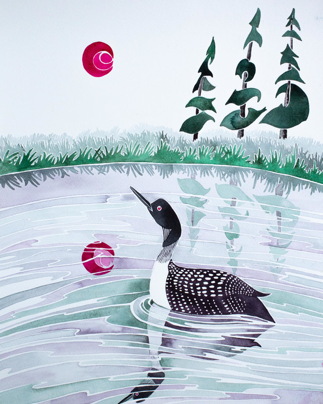 Loon watercolor- inspired by Pacific West Coast legend 'How the Loon Lost Her Voice'