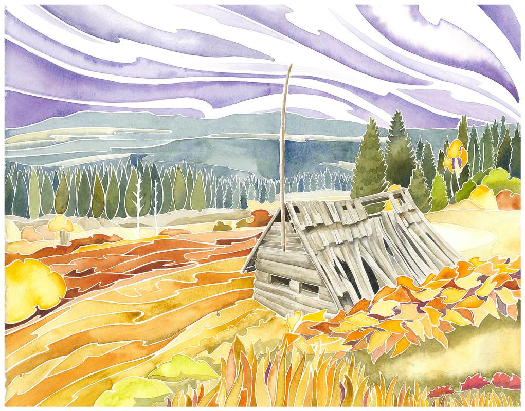 Ray Farm Well Gray Provincial Park British Columbia watercolour by Andrea England
